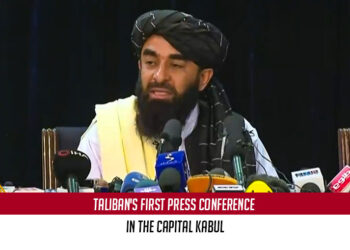 The Taliban hold its first press conference in the capital Kabul
